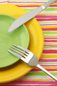 Plates, fork and knife — Fotografia Stock