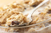 Muesli with milk close-up — Stock Photo