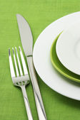 Plates, fork and knife — Stock Photo