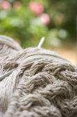Knitting in garden — Stock Photo