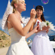 Bride with soup bubbles - Stock Photo
