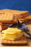 Crackers with cheese and basil — Stock Photo