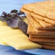 Crackers, cheese and basil — Stock Photo #3515063