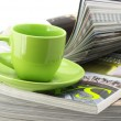 Magazines and coffee cup - Stock Photo