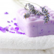 Soap, bath salt and lavander — Stock Photo
