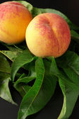 Peaches on leaves — Stock Photo