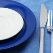 Plates, fork and knife - Stock Photo