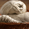 Knitting in basket — Stockfoto