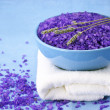 Bath salt, lavander and towel — Stock Photo
