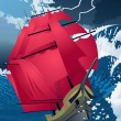 Vector de stock : Scarlet sails