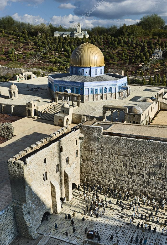 Model of the Whaling Wall and Omar mosque on the Temple Mount in Jerusalem Israel — Stock Photo #2697682