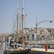 Sail boat in Marina Zea, Piraeus - Stock Photo