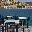 Seaside Coffee-house, Symi, Greece — Stock Photo