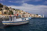 Boat in Harbor Of Symi, Greece — Stok fotoğraf