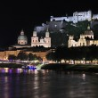 Night view over Salzburg, Austria - Stock Photo