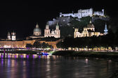 Night view over Salzburg, Austria — Stock Photo