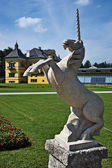 Unicorn statue in the Hellbrunn Palace — Stock Photo