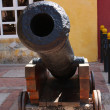 Cannon in Cartagena wall — Stock Photo