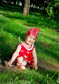 Baby is walking in park — Stock Photo