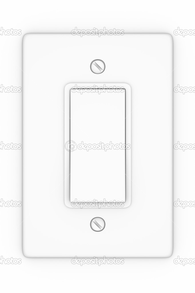 A render of an isolated white light switch  Stock Photo #3158770