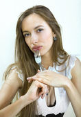 Portrait of girl with fork — Stock Photo
