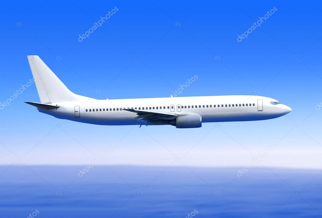 White passenger airplane in the blue sky landing away — Stock Photo #3492326