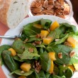 Stock Photo: Spinach Salad with Pecans, Peaches and F