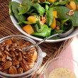 Stock Photo: Spinach Salad with Pecans, Peaches and D