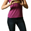 Young Woman Holds A Juicy Burger - clipp — Stock Photo