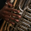 African-American Man Plays the Tuba — Stock Photo