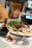 Steak Dinner with Glass of Wine — Stock Photo