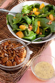 Spinach Salad with Pecans, Peaches and D — Stock Photo
