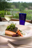 Salmon with Vegetables Served with Wine — Stock Photo
