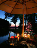Romantic Candlelit Dinner by the Lake — 图库照片