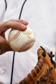 Pitcher Demonstrates His Baseball Grip — Stock Photo