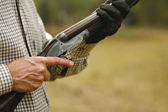 Man Hunting with Shotgun - clip path — Stock Photo