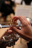 Close-up of Man Playing Trumpet — Stock Photo