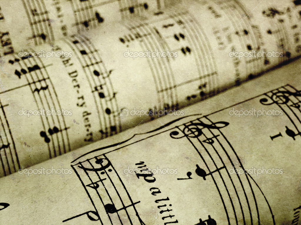 Antique Sheet Music Wallpaper Old Rolled-up Music — Photo by