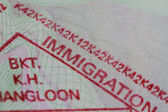 Stamp in a us passport — Stock Photo