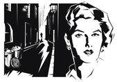 Girl face of dark city — Stock Vector