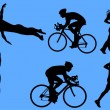 Triathlon vector silhouettes - Stock Vector