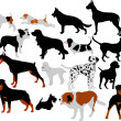 Dogs collection vector silhouettes — Stock Vector