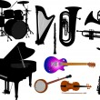 Stock Vector: Music instruments vector silhouettes