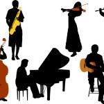 Musicians silhouette vector — Stock Vector #2766785