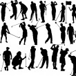 Collection of golfers vector silhouettes - Stock Vector