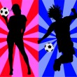 Soccer players vector silhouettes — Stock Vector