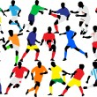 Stock Vector: Soccer players collection vector