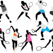 Tennis players silhouettes — Stock Vector #2767327