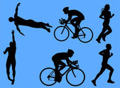Triathlon vector silhouettes — Stock Vector