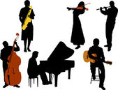 Musicians silhouette vector — Stock Vector